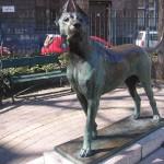 """""""Figyelő kutya"""" bronz szobor"""